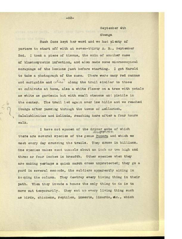 Richard Pearson Strong Diary: September 4, 1926