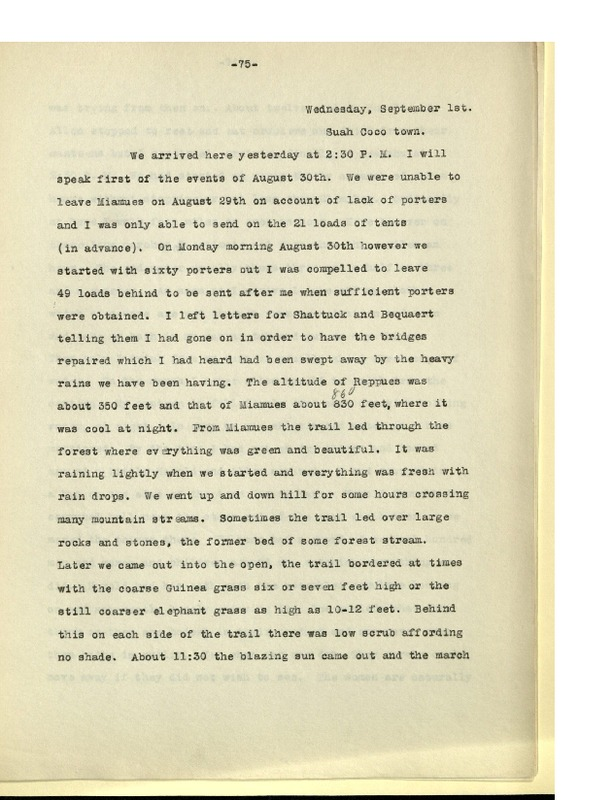 Richard Pearson Strong Diary: September 1, 1926 Part II