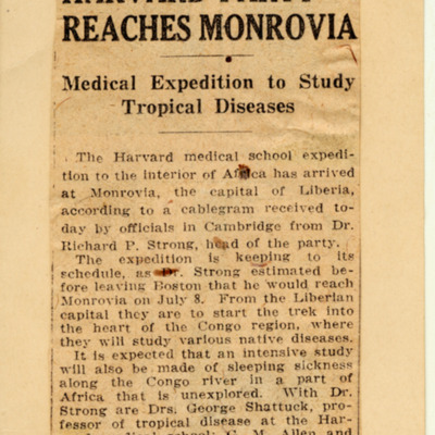 Harvard party reaches Monrovia: Medical expedition to study tropical disease